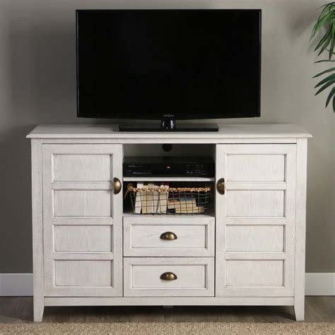 walker edison angelo rustic chic 55 inch tv cabinet white