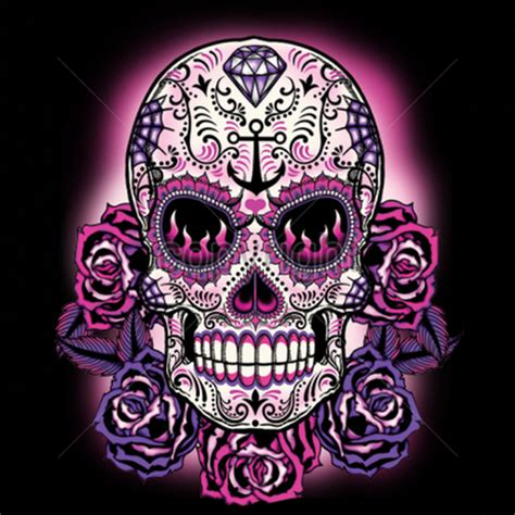 mexican skulls and roses sleeve pink sugar skull womans sleeve t shirt day of the