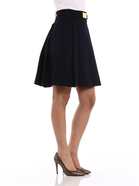 stretch cotton pleated skirt by michael kors knee length