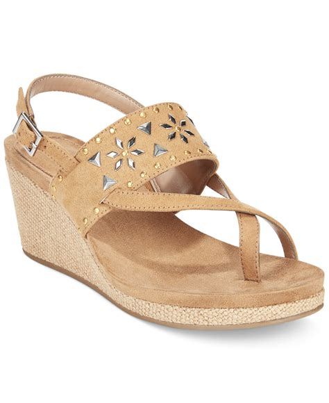 style  denim jazzmine embellished slingback wedge sandals   macys  natural lyst