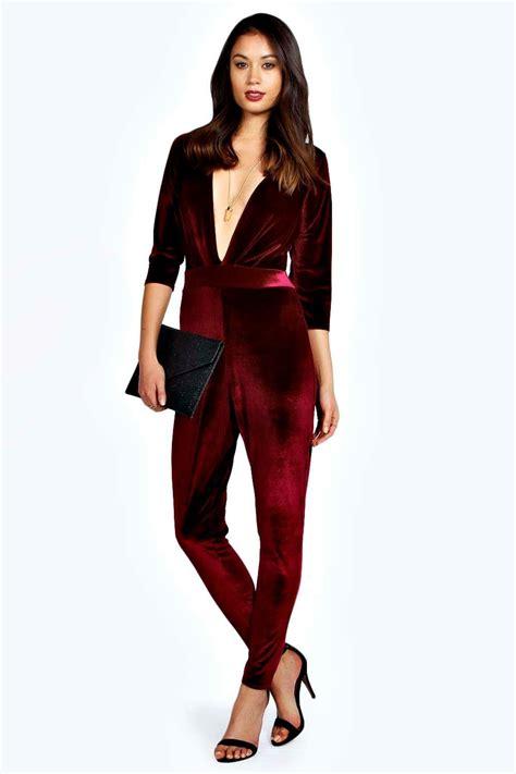 Jumpsuit Velvet 1 maisie velvet plunge neckline jumpsuit at boohoo