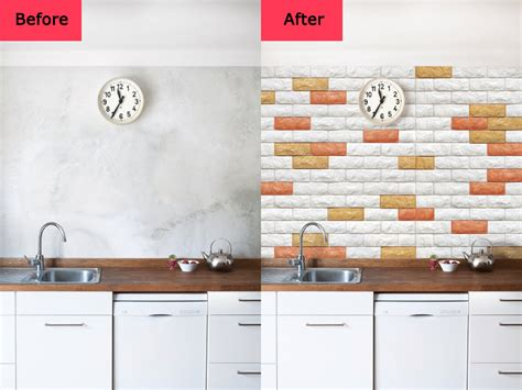 Wallpaper Ideas For Kitchen before and after for peel amp stick 3d wall panels foam