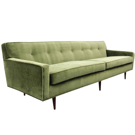 gorgeous green velvet mid century modern sofa at 1stdibs