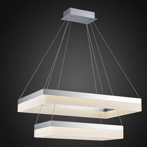 Rectangle Pendant Light New Arrival Rectangle Led Silver Chandelier Lighting Fixture Silver Large El Project Lighting