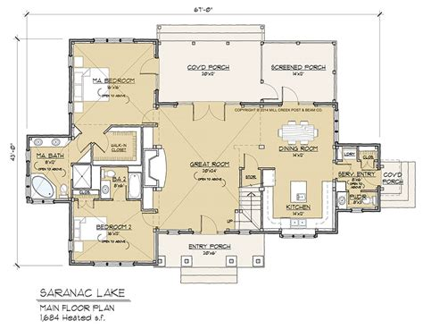 timber floor plan saranac lake timber frame floor plan by mill creek