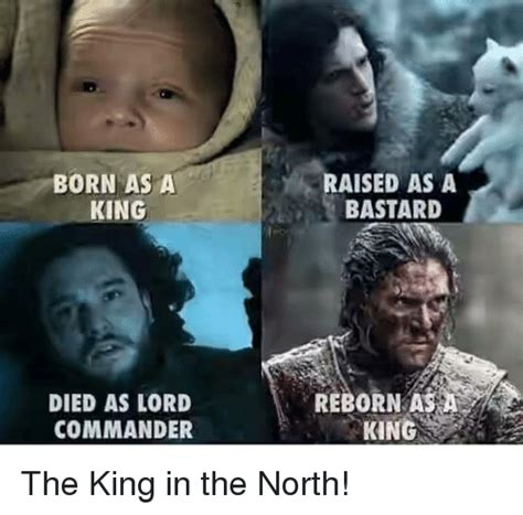 The King In The North Meme - born as a king died as lord commander raised as a bastard