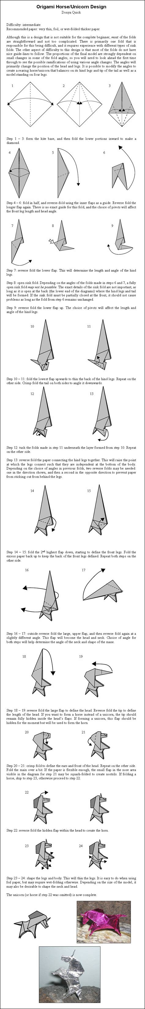 Origami Unicorn Diagram - a duchess nonethelesss unicorn origami