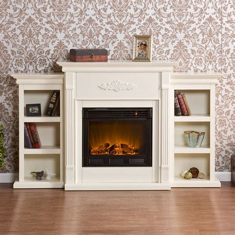electric fireplace with bookcase southern enterprises tennyson ivory electric fireplace