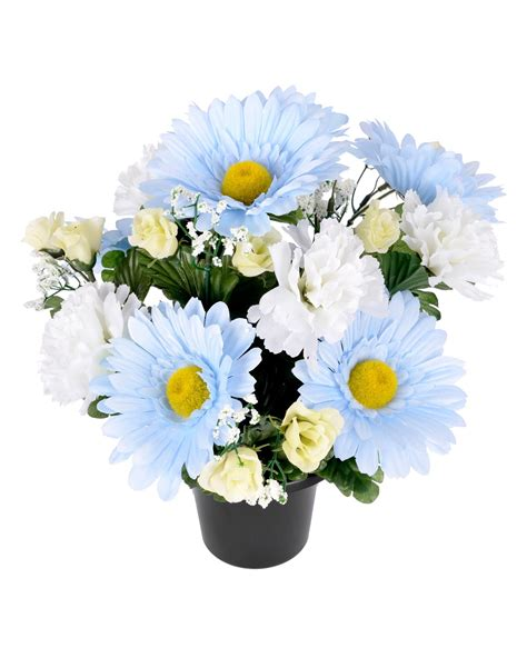 Blue Artificial Flowers In Vase by Baby Blue And White Artificial Flowers In Grave Vase