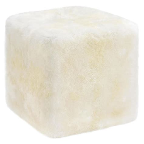 sheepskin ottoman napier modern ivory long wool sheepskin fur cube ottoman