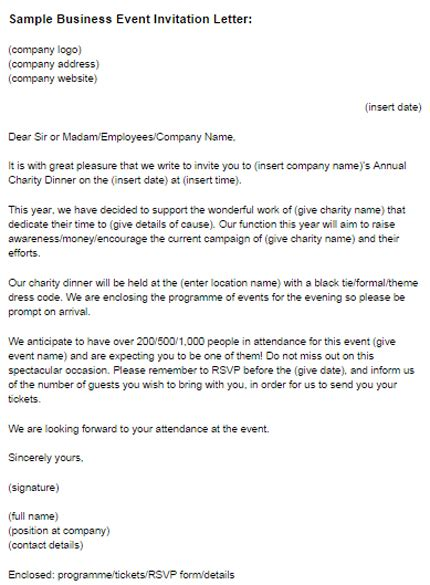 sle business event invitation letter just letter