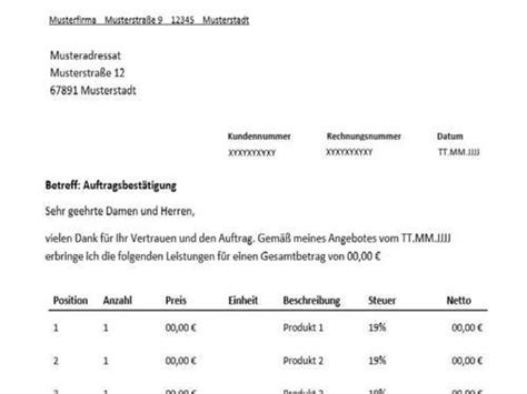 Rechnung Muster Odt Auftragsbest 228 Tigung F 252 R Freiberufler Vorlage Muster