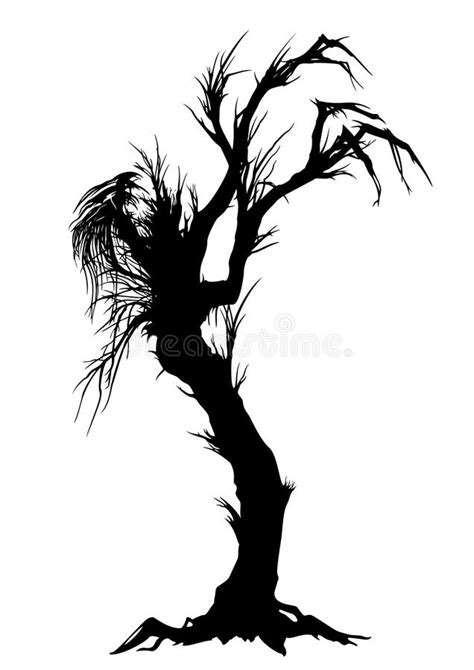 design elements lone tree sinister tree silhouette stock vector image of devil