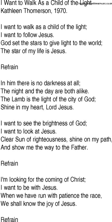 i am the light of the hymn hymn and gospel song lyrics for i want to walk as a child