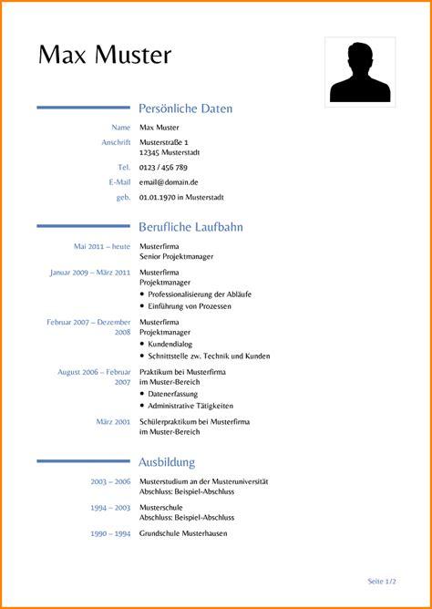 Word Vorlage Lebenslauf Mit Bild Schulbewerbung Muster Reimbursement Format