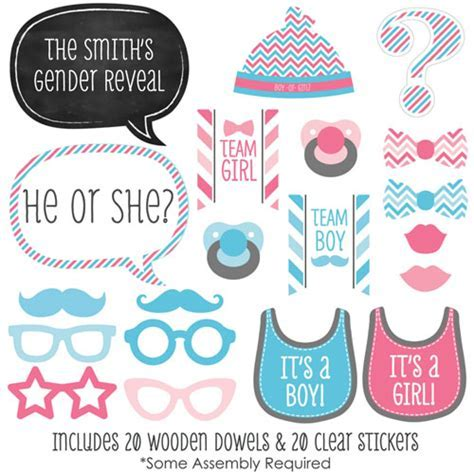 Gender Reveal Baby Shower Photo Booth Props   BabyShowerStuff.com