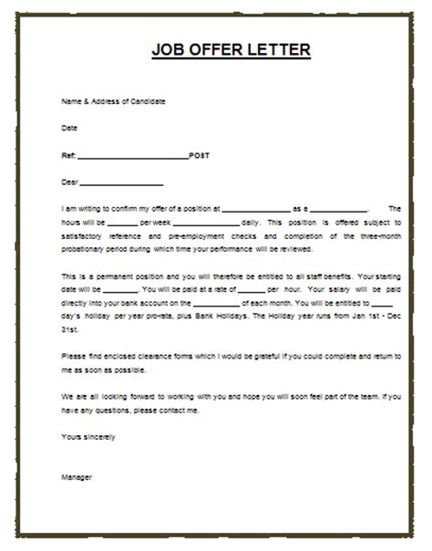 Employment Letter Ms Word Offer Template Template Design