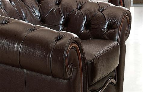 Formal Leather Sofa by Brown Genuine Leather Formal Living Room Sofa W Tufted Seats