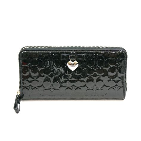 Coach Wallet Embossed Black 1 coach embossed liquid gloss accordian zip around wallet clutch black 49508 coach 49508