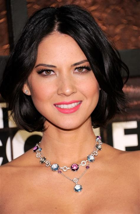 evening looks bob hairstyle olivia munn mid length hairstyle bob with side parts for