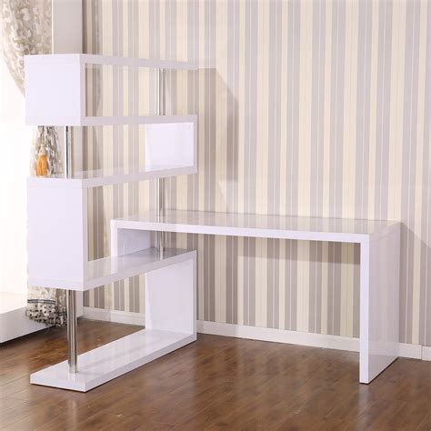 Furniture Floating Wooden Corner Desk With Shelves In White Corner Desk With Shelves