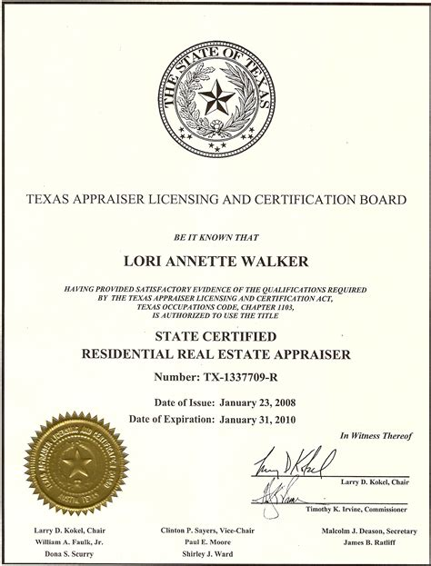 Or Certification George H Walker Co Staff Lori Walker Certification