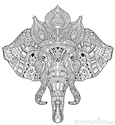 psychedelic elephant coloring pages elephant head doodle on white vector sketch stock vector