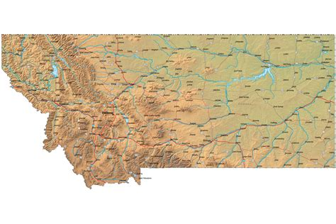 map montana detailed montana map mt terrain map