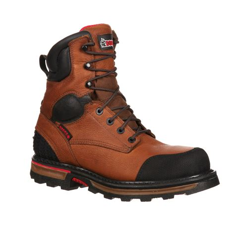 steel toe work boots rocky elements dirt 8 inch steel toe waterproof work boot