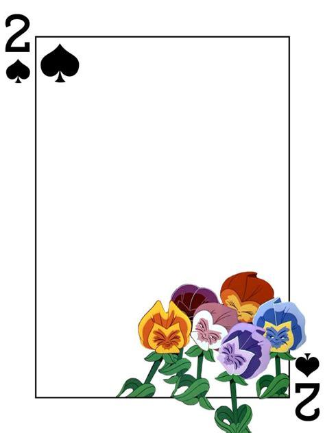 printable alice in wonderland flowers flowers 2 of spades alice in wonderland playing card