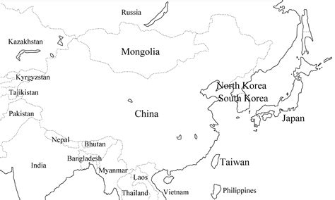 asia map with country names black and white asien landkarten kostenlos cliparts kostenlos