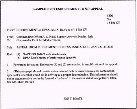 Usmc Endorsement Letter Format Njp Appeal