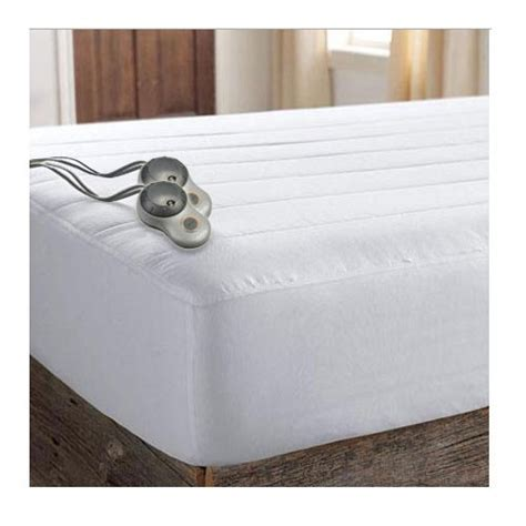King Size Heated Mattress Pad by Sunbeam Thermofine Quilted Striped Heated Electric
