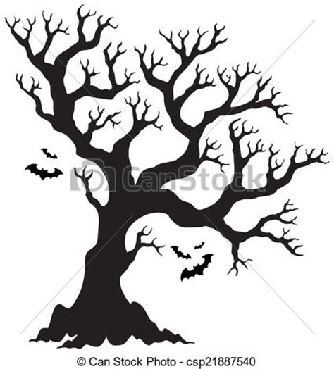 haunted tree coloring page eps vector de silueta halloween 225 rbol murci 233 lagos