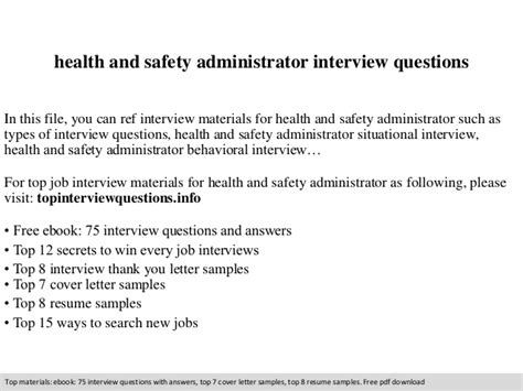 health and safety administrator questions