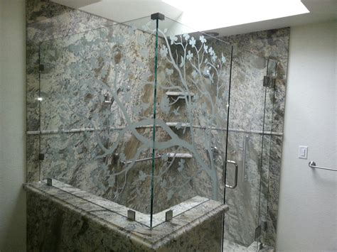 Shower Doors Redwood Glass Sandblasted Glass Shower Doors