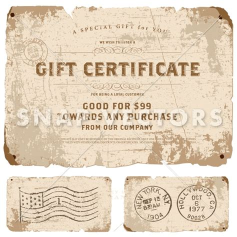 vintage gift certificate template vector vintage gift certificate template snap vectors