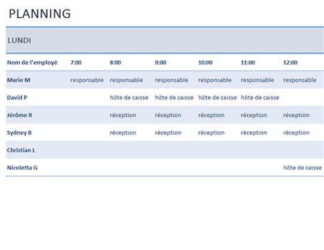 Modèle Planning Hebdomadaire Excel