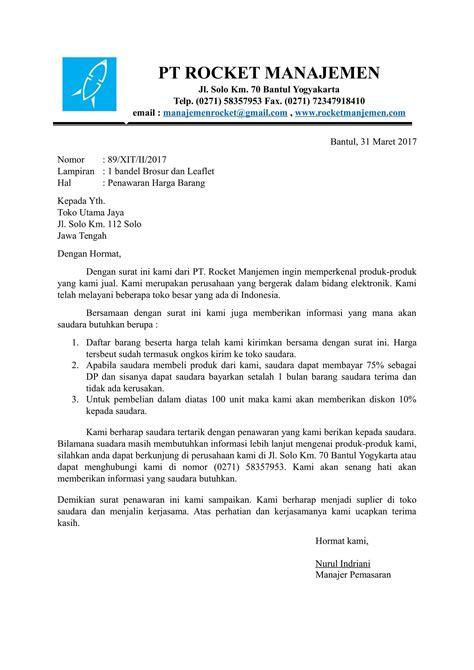Surat Permintaan Barang by Contoh Surat Penawaran Harga Barang Yang Baik