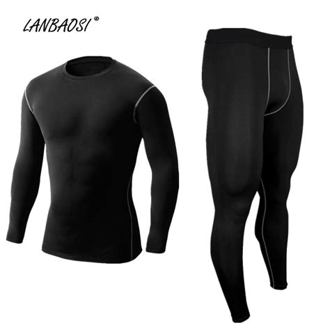 Compression Baselayer Crossfit Trainer Fitness Pilates aliexpress buy lanbaosi s compression shirts black set running tights