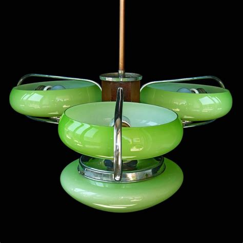 Green Glass L Shade by Antique Deco Opaline Green Glass Shades Four Light Chrome Chandelier For Sale At 1stdibs
