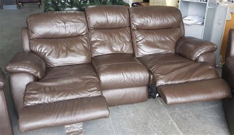 used leather recliner sofa rrp 163 2500 dfs brown heavy leather recliner sofa electric