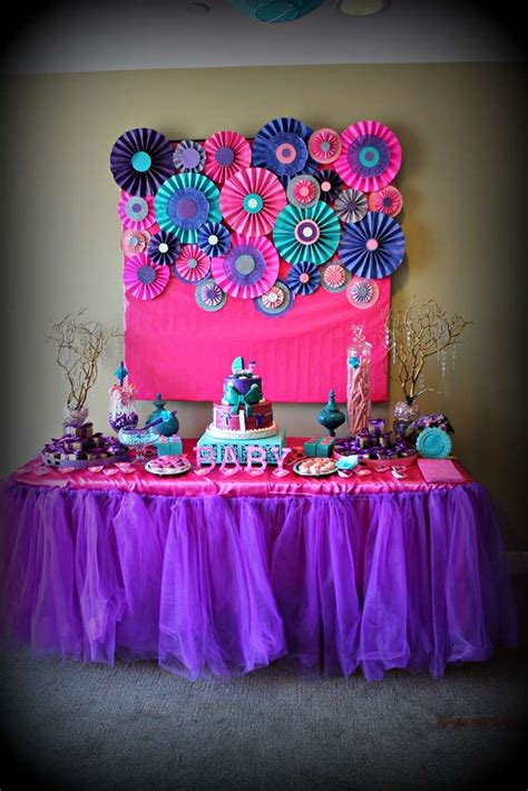 pink purple turquoise   girl baby shower party ideas photo    catch  party