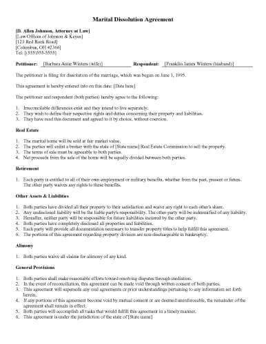 31 Sle Agreement Templates In Microsoft Word Marriage Dissolution Agreement Template