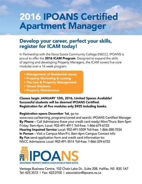 Apartment Owners Association Registration 2016 Ipoans Certified Apartment Manager Course