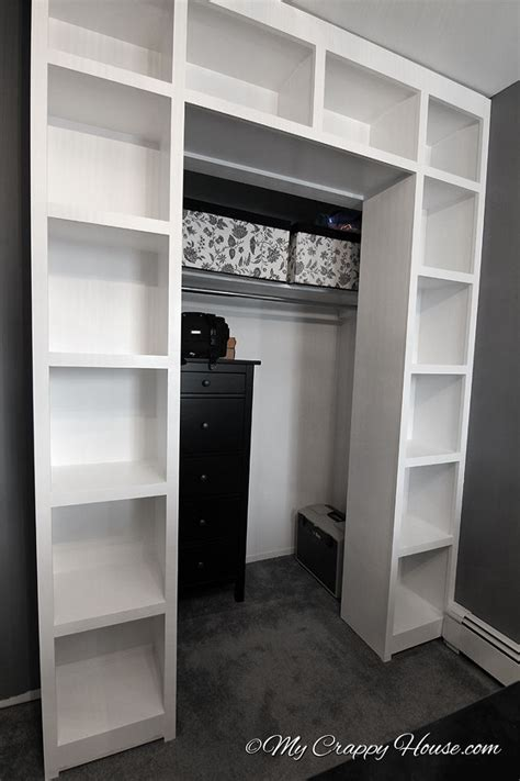 hometalk built in bookshelves around a closet