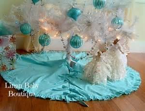 christmas tree skirt teal cotton 42 ruffled tree