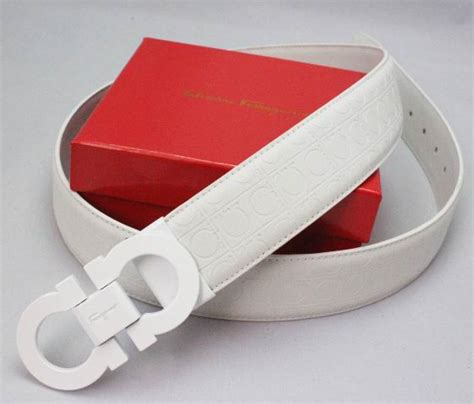 Ferragamo White ferragamo adjustable gancio sted belt white sf2k15