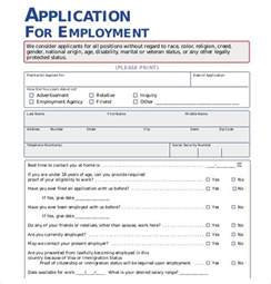 Free Downloadable Employment Application Template by Employment Application Template 21 Exles In Pdf