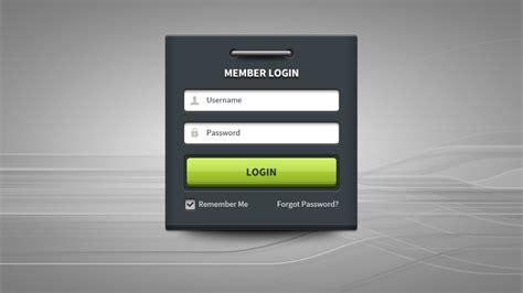 member login form panel ui free psd download download psd